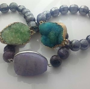 Juicy Jewels and Gems Druzy bracelets with semi-precious gemstones
