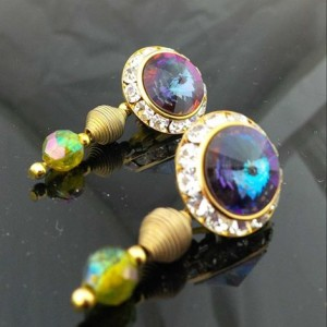 Juicy Jewels and Gems Genuine Aurora Borealis Swarovski earrings green