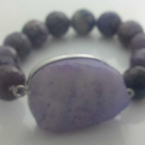 Juicy Jewels and Gems druzy and russion charoite gemstone bracelet